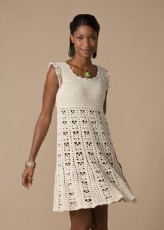 Nashua Handknits - NHK31-7 - Crochet Dress it's $6.00 on Patternfish, needs 20 balls of 120yd/microfiber acrylic,  a G hook for the XL size. how about using an H or I hook, a thicker yarn??? Eh? This IS PRETTY though.