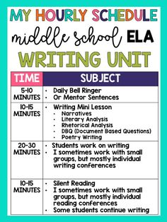 Middle School ELA Schedule (Daily, Weekly, Monthly, Year-Long Pacing) – The Hungry Teacher - scdeskak Ela Classroom, Middle School Classroom, English Classroom, Ela High School, Classroom Ideas, English Teachers, High Schools, Google Classroom, Future Classroom