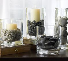 river rocks candles
