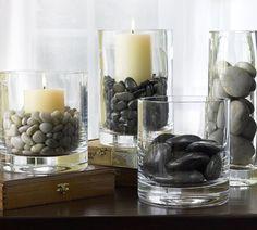 river rocks candles