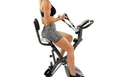 Sunny Health & Fitness Foldable Semi Recumbent Magnetic Upright Exercise Bike w/Pulse Rate Monitoring, Adjustable Arm Resistance Bands and LCD Monitor – SF-B2710