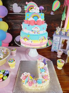 Jeanny's lluvia de amor birthday...€£@ One Year Birthday, Rainbow Birthday Party, Birthday Cake Girls, Princess Birthday, First Birthday Parties, Birthday Party Themes, Welcome Baby Party, Bolo Fack, Cloud Party