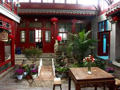 A traditional Chinese courtyard Traditional Chinese House, Chinese Style, Chinese Courtyard, Patio Central, Asian House, Chinese Interior, China Architecture, Casa Patio, Porch And Balcony