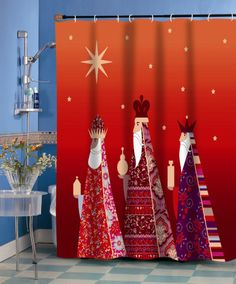 Three Kings Polyester Fabric Holiday Shower Curtain