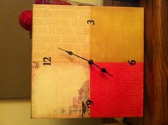 12x12 canvas, 4 6x6 squares of scrap paper. Modge Podge and a clock kit!