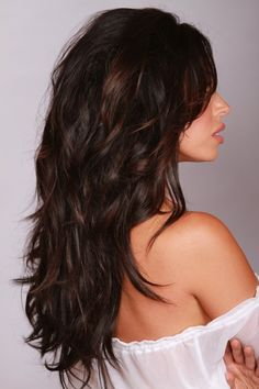 Long, layered, dark warm brown hair