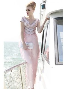 Graceful A-Line Empire Ankle-Length Appliques Evening/Prom Dress