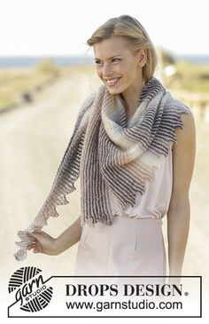 Dragon Heart - Knitted shawl with stripes and tips in DROPS Delight and Kid-Silk. - Free pattern by DROPS Design