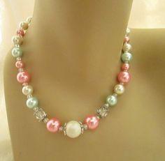 "Vintage Style Beaded Necklace Silver White Pink Green 17.75"" Spring Break Easter #Handmade #Pendant"