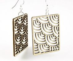 Waves in Squares - Laser Cut Earrings From Reforested Wood.