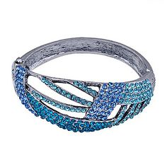Burnish+Silver+Plated+Czech+Stone+Inlaid+Alloy+Bracelet(Assorted+Colors)+–+USD+$+10.19