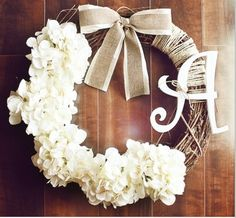 Monogrammed wreath with hydrangea and burlap ribbon detail. LOVE!
