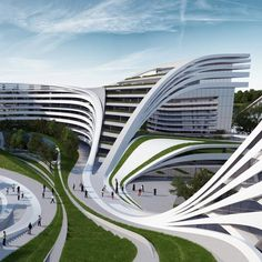 Beko Masterplan by Zaha Hadid Architects Zaha Hadid Architects has designed a swirling complex of apartments, offices and leisure facilities on the abandoned site of an old textile factory in Belgrade, Serbia Architecture Design, Zaha Hadid Architecture, Organic Architecture, Futuristic Architecture, Beautiful Architecture, Contemporary Architecture, Landscape Architecture, Building Architecture, Contemporary Design