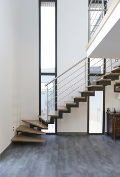Loft Stairs, House Stairs, Stair Renovation, Door And Window Design, Escalier Design, Pole Barn House Plans, Home Stairs Design, Floating Staircase, Modern Stairs