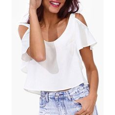 $14.43 Chic Scoop Neck Short Sleeve White Cut Out Crop Top For Women