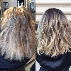 """Heather on Instagram: """"This was a fun color correction. My client came in with a full highlight low light, her hair was very damaged at the ends and had tons of bleed spots. She wanted more of a rooted blonde so I did a reverse balayage and it turned out perfect. #hairbyheather #hair #haircolor #hairstyling #balayage #balayagespecialist #colorcorrection #hairstylistofdenver #denverhair #brazilianbondbuilder"""""""
