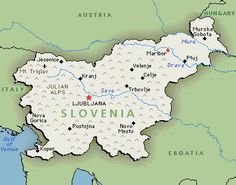Map of Slovenia showing the location of its capital