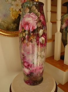 "george leykauf china painter | ... Painted 22"" Floor Vase with Bischoff Style Roses 19th Century Painting"