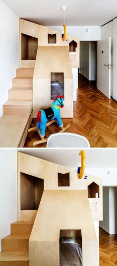 How cute is this bunk bed? Big Solutions for Small Spaces http://petitandsmall.com/big-solutions-small-spaces-kids-room/
