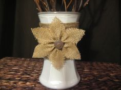 Burlap Flower Decorative Vase by HeartsofFireboutique on Etsy Burlap Lace, Burlap Flowers, Lace Flowers, Fabric Flowers, Burlap Wreath, Hessian, Burlap Projects, Burlap Crafts, Diy Projects