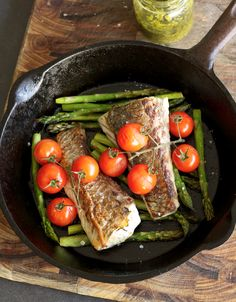 Baked Barramundi with Asparagus & Cherry Healthy Options, Healthy Recipes, Yummy Treats, Yummy Food, Light Recipes, Fish And Seafood, Cherry Tomatoes, Stems, Parsley