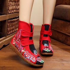 Color Match Hook Loop Canvas Ankle Embroidery Flat Flower Vintage Boots