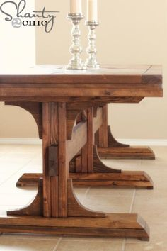 Ana White   Build a Triple Pedestal Farmhouse Bench   Free and Easy DIY Project and Furniture Plans