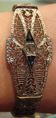 Art Deco filigree bracelet from The Antique Guild in Old Town Alexandria, VA. Via Diamonds in the Library.