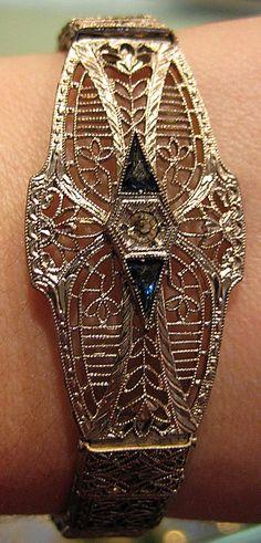 Art Deco filigree bracelet from The Antique Guild in Old Town Alexandria, VA. Via Diamonds in the Library.
