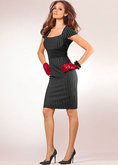 This one is a must have...loving the red gloves with dress, but I believe some other red accessory would work.