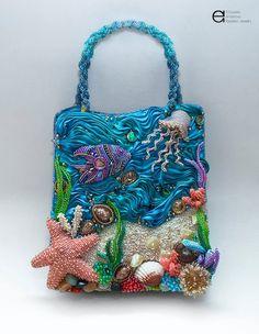 The Underwater Kingdom Handbag - Finalist of Bead Dreams 2015 Unique Handbags, Unique Purses, Handmade Handbags, Unique Bags, Handmade Bags, Purses And Handbags, Beaded Purses, Beaded Bags, Mary Frances Handbags