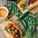 """Check out our favorite sandwich recipes, including banh mi, burgers, Italian subs, and our take on the """"RPG""""––the roast pork on garlic bread sandwich! Spicy Meatballs, How To Cook Meatballs, Mustard Vinaigrette Recipe, Banh Mi Recipe, West African Food, Pork Cutlets, Easy Homemade Recipes, Veggie Noodles, Asian Recipes"""