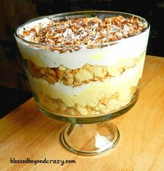 2 Gluten Free Trifles: Chocolate or Coconut Cream. SO SO EASY!!! It looks so fancy in that bowl too! from blessedbeyondcrazy.com