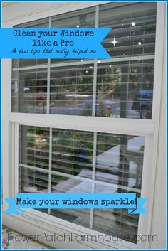 Clean your windows faster and easier with this simple trick. Easy cleaning solution to make window cleaning a breeze. #cleanwindows #housecleaningtips #flowerpatchfarmhouse #prowindowcleaning