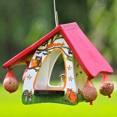 Vogelvilla Futterhobbit Tiere des Waldes weiß Futterhaus Vogelfutterhaus