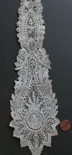Mid 19th C Point de Gaze Needle Lace Lappets Collector Unusual Design | eBay