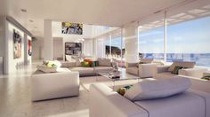 Home Design Completed Among Transparent Glass Window Offering Beautiful Panoramic View Modern Paint in Seaside House with White Wall