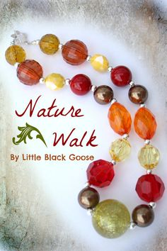 Nature Walk sparkly chunky beaded necklace by by LittleBlackGoose,