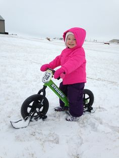 The cutest little snow Strider rider you've ever seen!