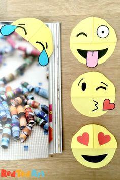 Red Ted Art Easy Emoji Bookmark DIY - fun with corner bookmarks and emojis! Bookmarks Diy Kids, Emoji Bookmarks, Paper Crafts For Kids, Easy Crafts For Kids, Diy For Kids, Kids Fun, Origami Bookmark Corner, Bookmark Craft, Corner Bookmarks