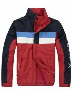 Nautica chaqueta de hombre   Navy-red-blue Motorcycle Jacket, Rain Jacket, Windbreaker, Jackets, Fashion, Men, Down Jackets, Moda