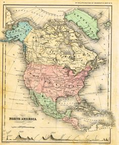 "Striking hand-colored lithograph map from Francis McNalley's ""AN IMPROVED SYSTEM OF GEOGRAPHY"" published in 1866 in Chicago. The map's image is about 11' x 8 1/2"" on a page that is 12"" x 9 1/2"". The t"