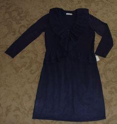 CALVIN KLEIN navy blue ruffled front L/S  sweater dress M $120 #CalvinKlein #SweaterDress #WeartoWork