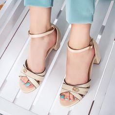 Sandale dama cu toc bej Istalina