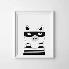 Nursery art Kids room art print Pig art print by PaperandPickles