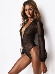 d0dc4a0c7b9 Chantilly Lace Long-sleeve Teddy - Very Sexy - Victoria s Secret Pictures  Of Jasmine