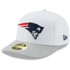 Men s New England Patriots New Era White Heathered Gray Tech Sweep Low  Profile 59FIFTY Fitted Hat 77786e7bb