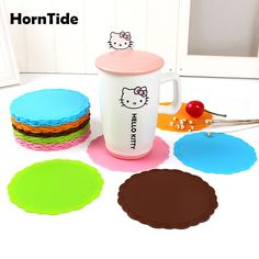 HornTide Silicone Drink Coaster Heat Resistant Cup Mat Withstand 230°C 446°F Protective Pads 10cm 4inch Set of 8 Multipurpose for Kitchen & Drinking Brown Color
