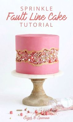Line Cake Tutorial - True. -Sprinkle Fault Line Cake Tutorial - True. - Add an edible image to the trendy fault line cake. Check out how Sweet Layers creates this beauty fault line cake with an edible image. Strawberry Fault Line Cake Tutorial + Video Pretty Cakes, Cute Cakes, Beautiful Cakes, Amazing Cakes, It's Amazing, Fancy Cakes, Cake Decorating Techniques, Cake Decorating Tutorials, Cake Decorating Designs
