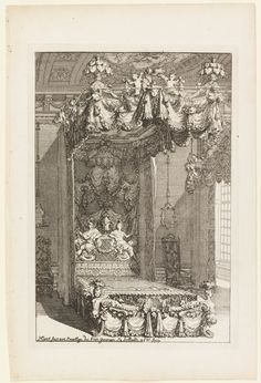 View of an opulent bed with ornate hangings